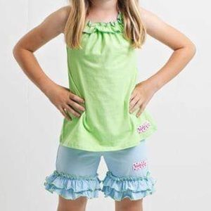 Ruffle Girl Matching Sets - Ruffle Girl Green/Light Blue Ruffle Neck Short Set